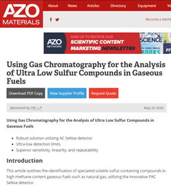 Using Gas Chromatography for the Analysis of Ultra Low Sulfur Compounds in Gaseous Fuels